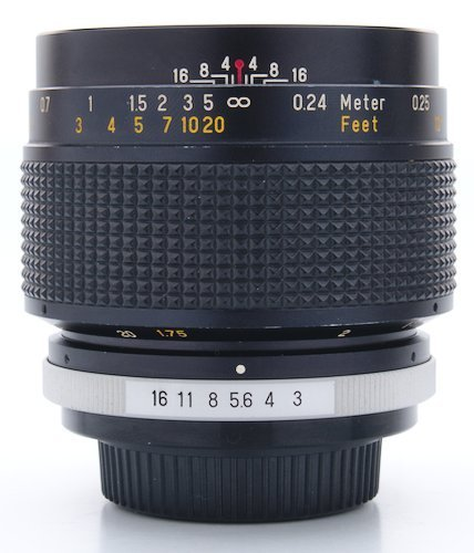 Lens Barrel Showing Aperture Ring, Focus Ring, and Focus Distance Scale.