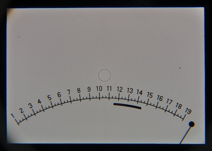 Actual viewfinder Screen with EV Scale