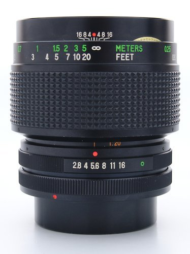 Lens Barrel, Focus Ring, Aperture Ring, and Distance Scale.