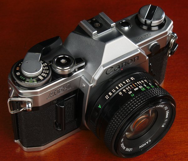 Canon AE-1 with 50mm f/1.8 Lens showing the shutter speed dial.