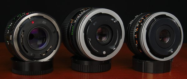 Showing the backs of Canon FDn FD FL mount Lenses.
