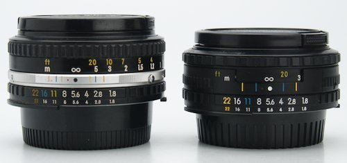 Series E Aperture Ring, Focus Ring, and Focus Distance Scale.