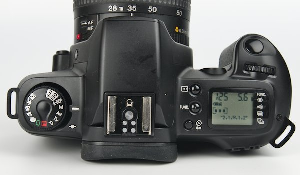 Top Control Dial, Flash Hot Shoe, LCD Screen, and Shutter Button on EOS Rebel G.