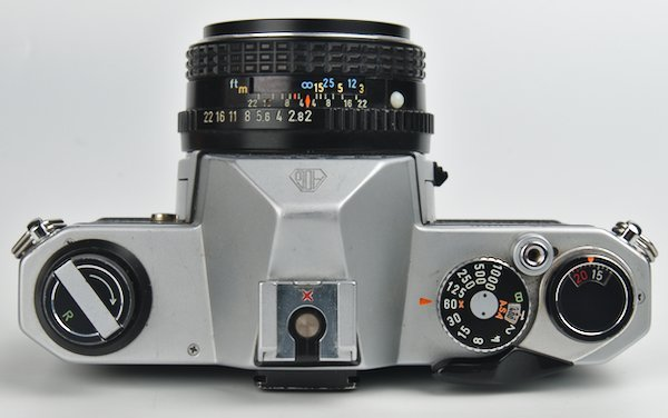 Shutter Speeds, Flash Hot Shoe, Film Winder, and 50mm f/2 Lens