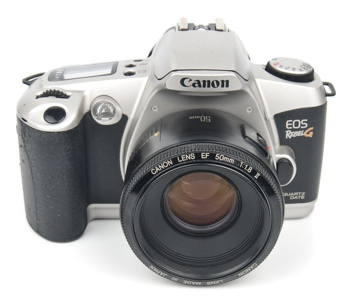 Front of the Canon EOS Rebel G with a Canon EF 50mm Lens