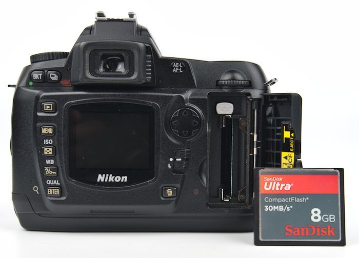 8 GB Compact Flash Camera Memory Card Next to D70