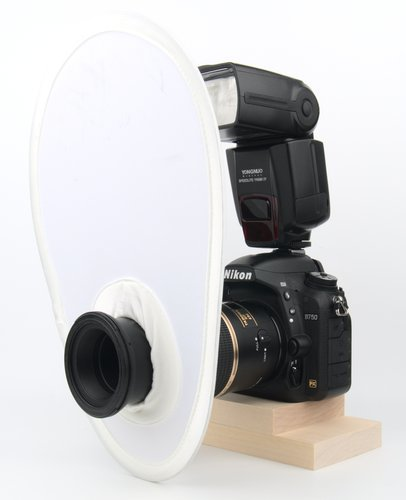 Pop-up flash diffuser on a macro lens