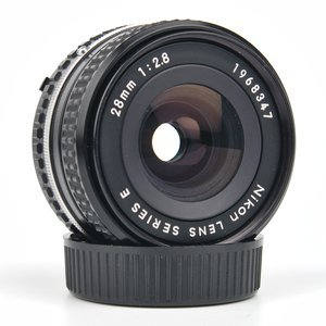 Nikon 28mm f/2.8 Series E lens. Second version with the chrome ring.