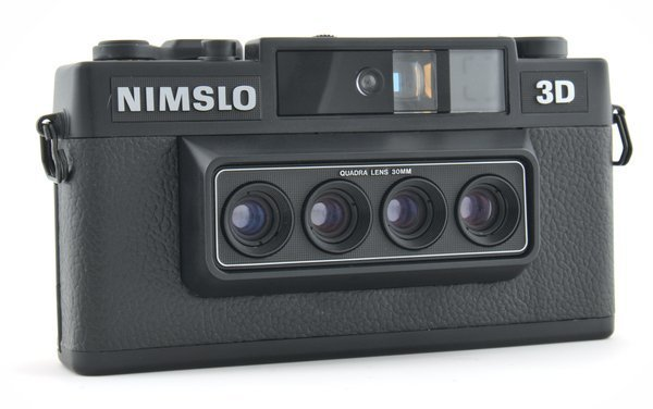 Nimslo 3D Camera showing the four quadra lens 30mm front.